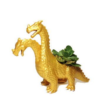 Up-cycled Gold Dragon Planter - With Succulent Plant