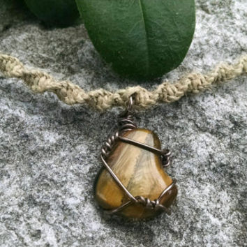 Spiral Hemp Necklace w/ Tiger's Eye Wire Wrapped Stone Pendant