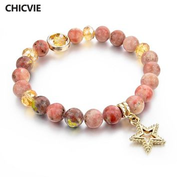 CHICVIE Natural Stone Charms Bracelet for Women Girls Gold Color Bead Chain Bracelets With Stones Star Ethnic Jewelry SBR150339