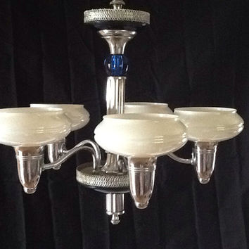 Vintage Chandelier Art Deco Chrome 5 Opalescent Shades Gill Glass Co.