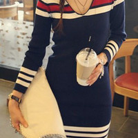 Deep Blue Striped Long Sleeve Dress