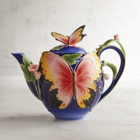 Hand-Painted Porcelain Blue Butterfly Teapot