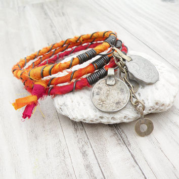Silk Road Gypsy Bangle Stack, 3 Bohemian Tribal Bracelets, Silk Wrapped in Hot Colors, Red, Orange, Yellow