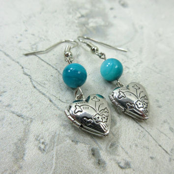 Locket Earrings with turquoise agate beads