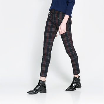 CHECKERED SKINNY TROUSERS WITH ZIP - Trousers - Woman | ZARA United States