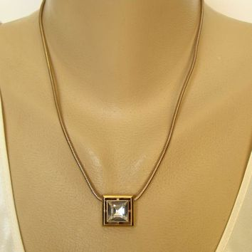 Avon Square Glass Crystal Slider Pendant Necklace Serpentine Chain