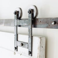 Industrial/Classic Double Wheel Sliding Barn Door Closet Hardware