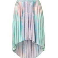 High Low Pleat Skirt in Galaxy Tie Dye