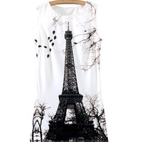 White Eiffel Tower Print Sleeveless Dress