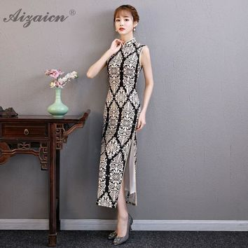 Silk Cheongsam Black White Lace Chinese Traditional Qipao Oriental Style Dress