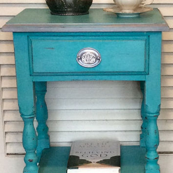 Turquoise Blue Vintage Nightstand 1940s