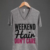 WEEKEND HAIR DON'T CARE V-NECK T-SHIRT PINK BLACK (IDB521121)