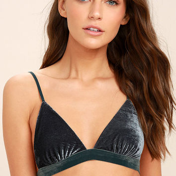 Whisper Softly Slate Blue Velvet Bralette