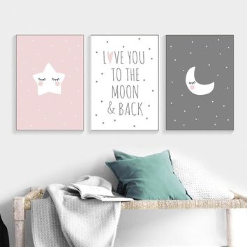 Baby Nursery Quote Canvas Poster Moon Star Cartoon Wall Art Print Minimalist Nordic Kids Decoration Picture Children Room Decor