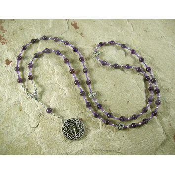 Pentacle Meditation Bead Necklace in Amethyst