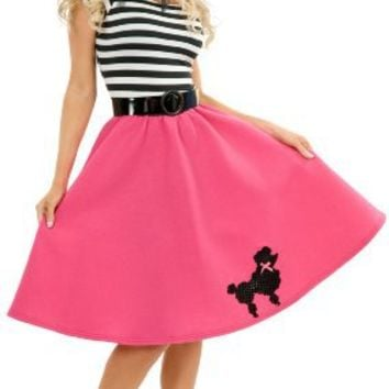 PINK OR RED Plus Size Costume Poodle Skirt for 50s Costume Party and Sock Hop Fun