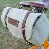 Classic Vintage Style Bicycle Bag (Grey and Brown)