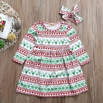 Toddler Kid Baby Girl Christmas Full Print Dress Long Sleeve Cotton Tutu Dress With Headband Outfit