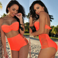 Halter Padded High Waist Cut-Out Bikini