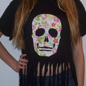 Floral Skull Fringed Tshirt by BohoJane on Etsy