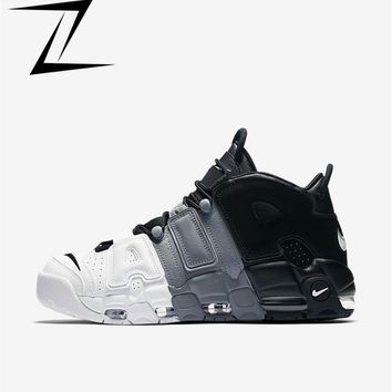 Best Deal Online Nike Air More Uptempo Tri-Color Men Sneaker Black/Black/Cool-Grey-White Soprt Shoes 921948-002