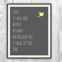 Mumford & Sons Lyric Poster - Sigh No More - 11x14 Music Lyrics print - other colors and sizes available
