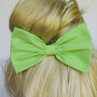 Hair Bow Clip - Minty Green
