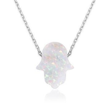 Small Opal, Silver Hamsa Necklace