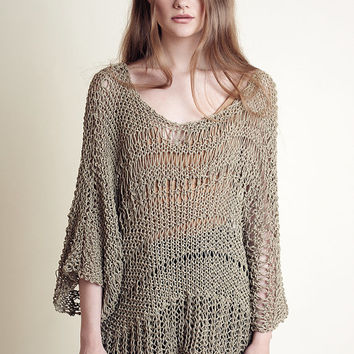 Bohemian summer sweater for women made of cotton / handknit, oversized, unique, in olive green color in a loose knit and drop stitches