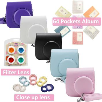 Carry PU Leather Bag Case with Shoulder Strap For Fujifilm Instax Mini 8 Mini 9 Instant Film Camera + Filter +Album +Selfie Lens
