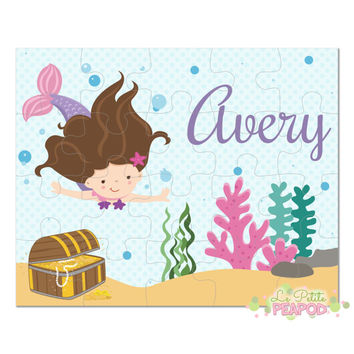 "Mermaid Puzzle - Personalized 8"" x 10"" Puzzle - 20 or 100 pieces - Mermaid Design - Personalized Name Puzzle"