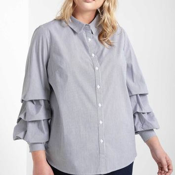 Jane Bunched Long Sleeve Top Plus Size