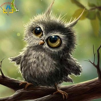Square drill diamond embroidery canvas painting diy 5d diamond mosaic rhinestones picture needlework decor animal owl AB060