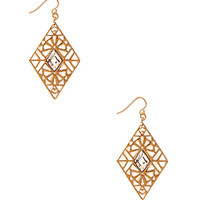 FOREVER 21 Standout Filigree Drop Earrings Gold/Clear One