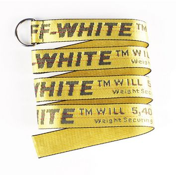 Off White Fashion New More Letter Print Canvas Women Men Belt Length 130 CM Yellow