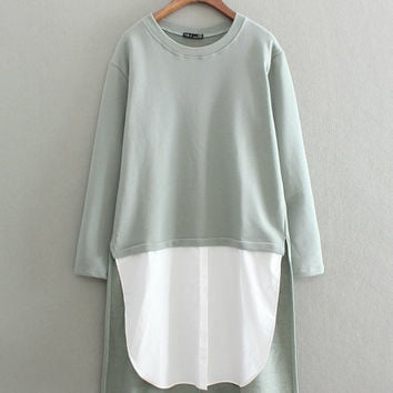 Stylish Cotton Patchwork Round-neck Long Sleeve Pullover Tops Hoodies [8542251335]