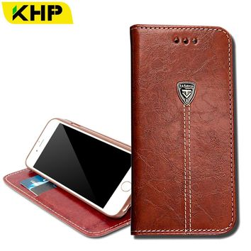 KHP Wallet Leather Phone Bag Case For iPhone 6 6S 7 Plus 4 4S 4G 5 5S 5C SE Luxury Mobile Phone Cover Case With Card Slot