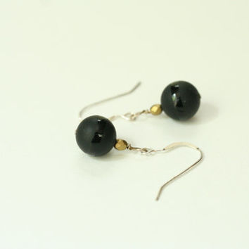 small black dangle earrings / black jewelry / black earrings / mothers day gift / black onyx earrings / teacher gift / graduation gift