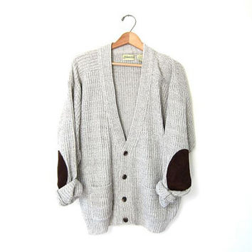 Vintage boyfriend sweater. Loose knit slouchy cardigan sweater. Oversized grandpa sweater. Elbow patches cardigan