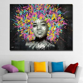 Abstract Art Canvas Prints Posters Beautiful Girl With Paintsl Hairs Graffiti Art Painting Wall Art Pictures For Living Room