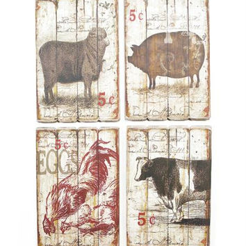 4 Farm Plaques - Sheep, Pig, Rooster And Cow