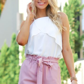 High Ruffle Shorts Dusty Pink