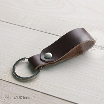 Brown leather keychain men's leather key chain genuine leather key fob thick leather key holder belt strap leather keychain leather key ring