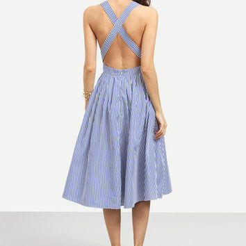 Summer Romantic Blue Striped Sleeveless Criss Cross Back Dress
