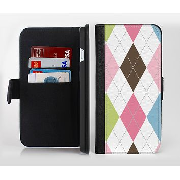 The Colorful Stitched Plaid Shapes Ink-Fuzed Leather Folding Wallet Credit-Card Case for the Apple iPhone 6/6s, 6/6s Plus, 5/5s and 5c