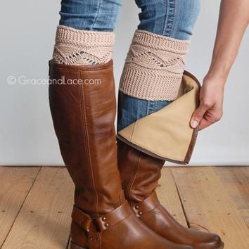 Grace & Lace Cable Knit Boot Cuff (Natural)