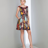 Preorder - Mignon HY1329 Wine & Multi Abstract Print Short Dress Fall 2015