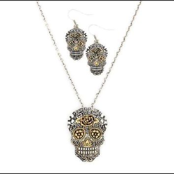 Embossed Sugar Skull Necklace & Fish Hook Earrings Set