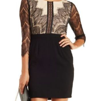 Black Combo Long Sleeve Lace Bodycon Dress by Charlotte Russe
