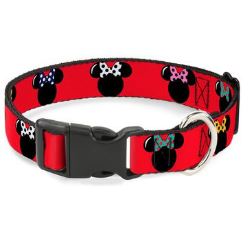 """Plastic Clip Collar - Minnie Mouse Silhouette Red Black Polka Dot - Large Pet Collar 1.0"""" Large"""